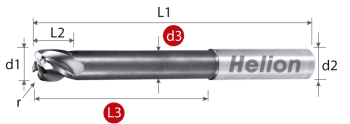 Solid Carbide Corner Radius End Mill Long Z4 · 30°