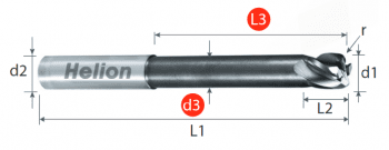 Solid Carbide Corner Radius End Mill Long Z4 · 30°