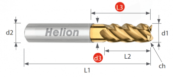 Fresa metal duro Z4 · 45°