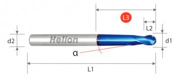 Fresa bola metal duro bola cuello cónico Z2 · 30°