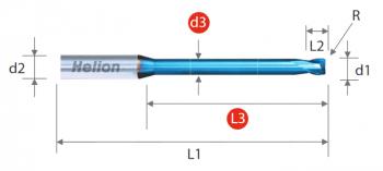 Solid Carbide Long Neck Corner Radius End Mill Z2 · 30°