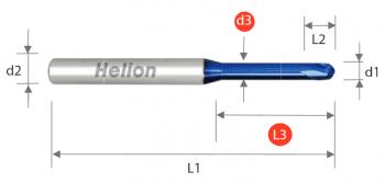 Fresa metal duro bola cuello largo Z2 · 30°