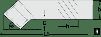 Herramienta tornear 45° DIN 4972/ISO 2