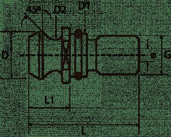 Tirante con agujero pasante y junta tórica ISO 7388-2B