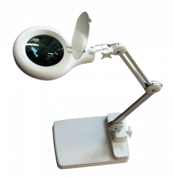 Magnifying glass lens x 2.25 LED lamp 600 Lux stand base