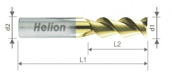 Solid carbide ALU end mill Z3 ZrN Helix