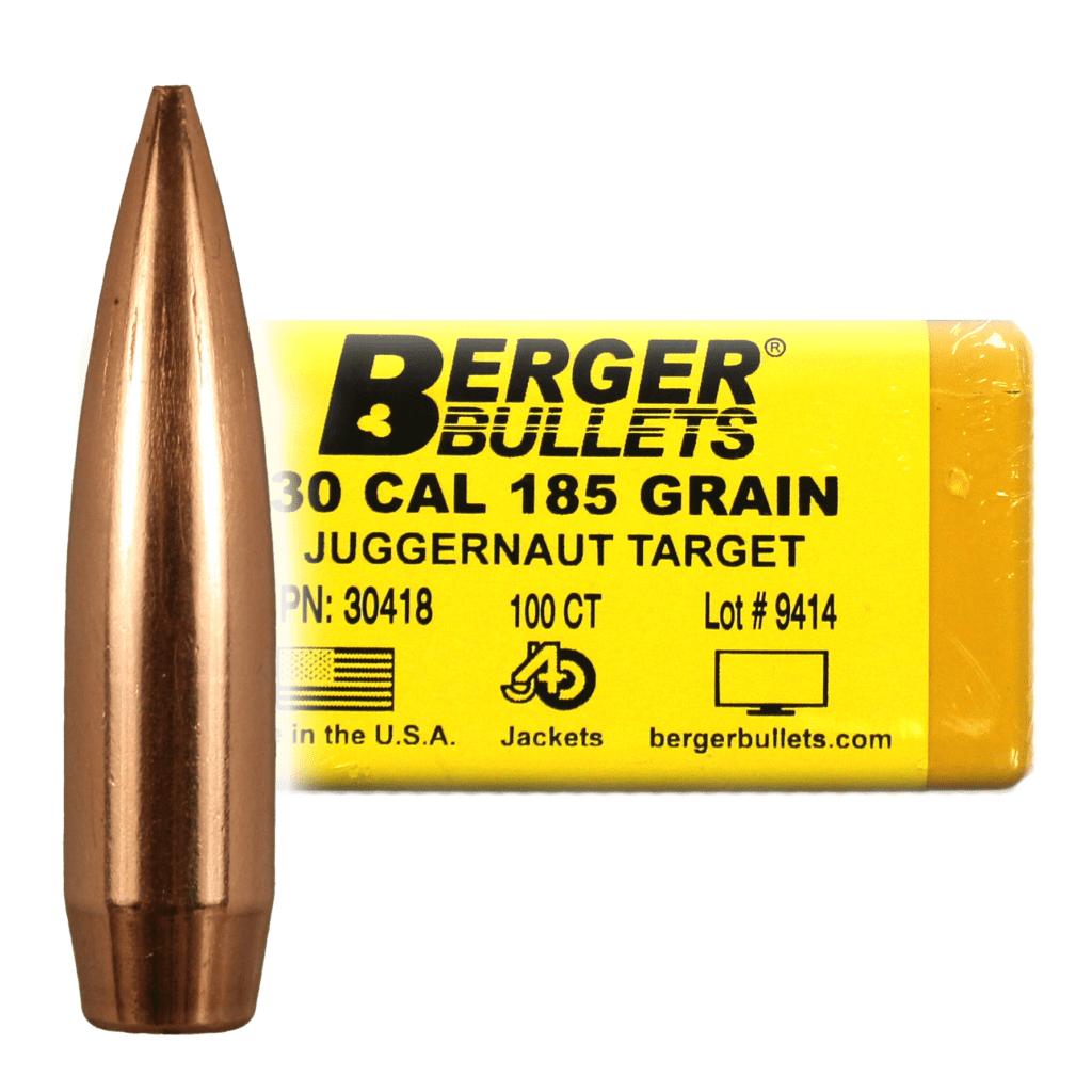 """BERGER BULLETS MATCH TARGET 30 CALIBER (.308"""") 185GR JUGGERNAUT TARGET BULLETS -"""