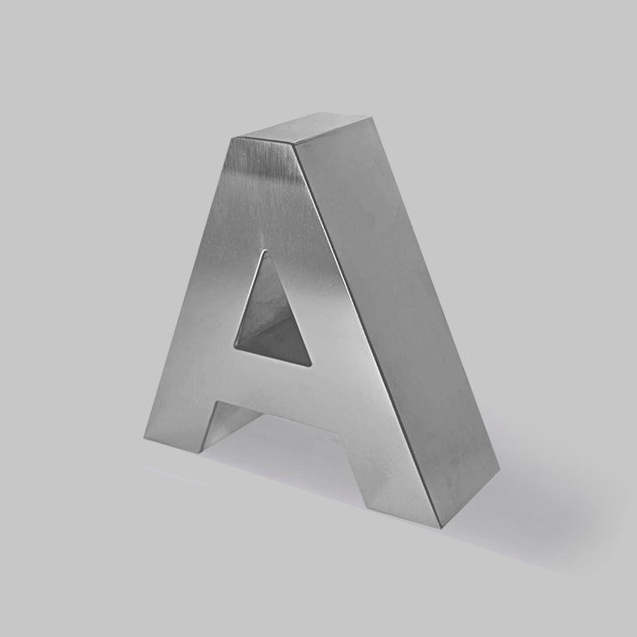 BIG SIZE METALLIC LETTERS WITH DEPTH STRAIGHT FONT -