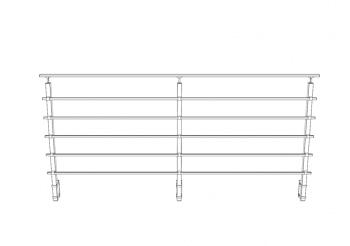Base lateral para poste cuadrado 40x40 mm de barandilla en inox  AISI-316 - 2