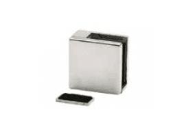 Grapa plana cuadrada para vidrio en barandilla inox AISI-316 (Caja indivisible 4 unidades // Precio por unidad!!)