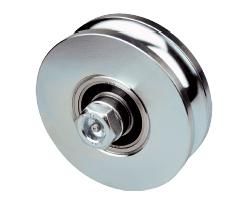Rueda para puerta corredera inferior canal angular con doble rodamiento y engrasador