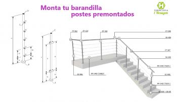 Plantillas para diseñar postes premontados de barandilla inox