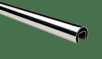 Pasamanos redondo  inox  AISI-316, barra de  5 m,  para barandillas de vidrio