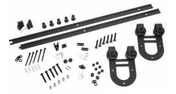 Kit herrajes rústicos para puertas de madera en forma U, color negro