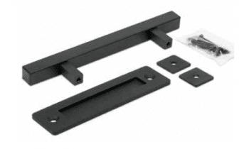 Conjunto herraje y tirador rústicos cuadrados para puerta tipo granero