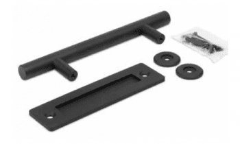 Conjunto herraje y tirador rústicos redondo para puerta tipo granero
