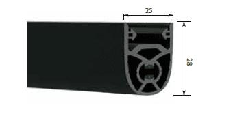 metro Borde sensible de goma 25x28 mm antiaplastamiento
