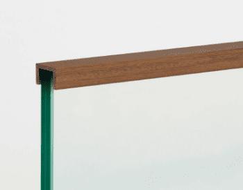 Pasamanos madera forma U para encastar en barandilla vidrio 2,5 metros - 1