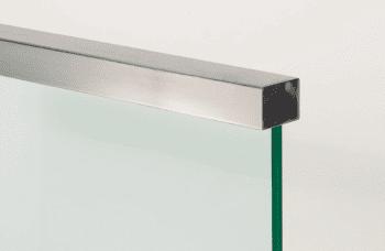 Pasamanos rectangular inox para encastar en vidrio, 5 metros - 1