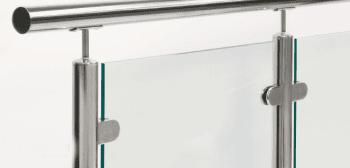 Grapa cóncava redonda para vidrio en barandilla inox AISI-316 (Caja indivisible 4 unidades // Precio por unidad!!) - 1