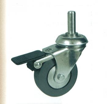 Rueda de goma 42 mm, con freno, giratoria con soporte y espiga AFO