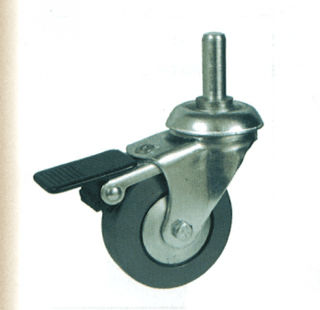 Rueda de goma 80 mm, con freno, giratoria con soporte y espiga AFO