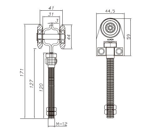 esquema medidas roldana simple eco rodamiento bolas 60x55 mm