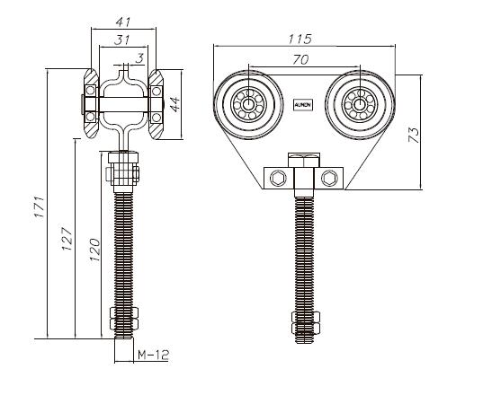 Esquema medidas roldana doble con rodamiento de bolas 700 Kg