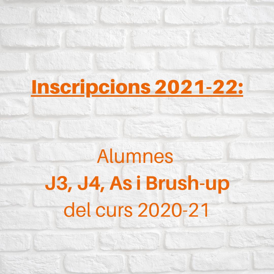 Inscripcions anglès 2021-22 a partir de J3