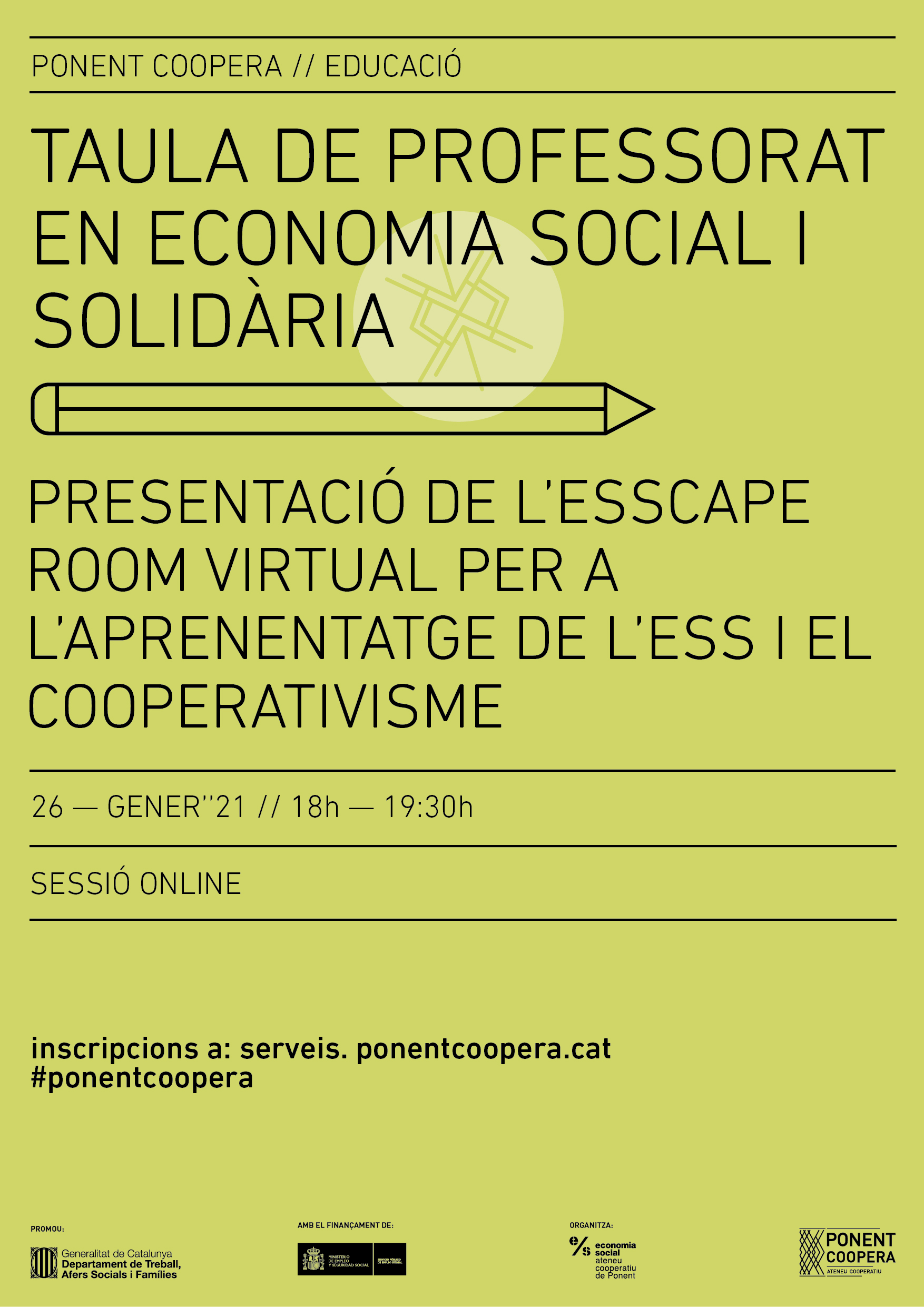 Taula de professorat en ESS: Presentació de l'ESScape Room virtual per a l'aprenentatge de l'ESS i el cooperativisme