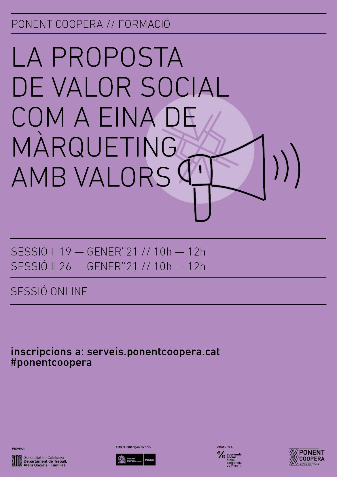 La Proposta de Valor Social com a eina de màrqueting amb valors. Sessió 1