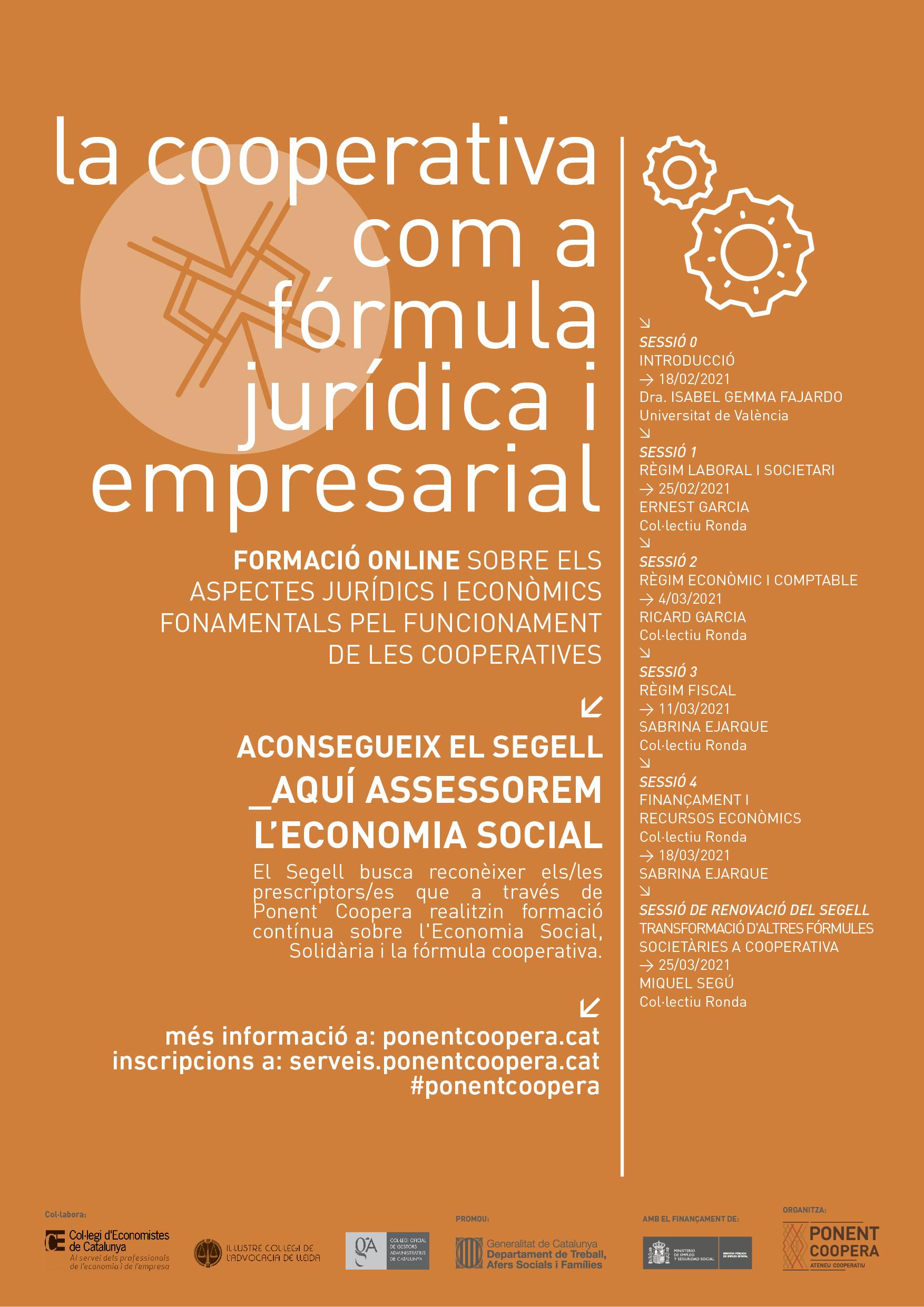 Formació La cooperativa com a fórmula jurídica i empresarial. Sessió de renovació del segell
